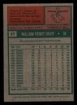 1975 Topps Mini #10   Willie Davis Back Thumbnail