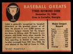 1961 Fleer #14  Ty Cobb  Back Thumbnail