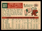 1959 Topps #377  Johnny Antonelli  Back Thumbnail