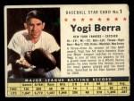 1961 Post Cereal #1 COM Yogi Berra   Front Thumbnail
