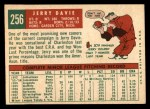 1959 Topps #256  Jerry Davie  Back Thumbnail