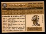 1960 Topps #110   Cal McLish Back Thumbnail