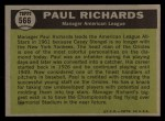 1961 Topps #566  All-Star  -  Paul Richards Back Thumbnail