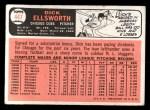 1966 Topps #447   Dick Ellsworth Back Thumbnail