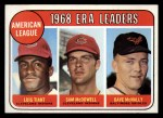 1969 Topps #7  1968 AL ERA Leaders  -  Luis Tiant / Sam McDowell / Dave McNally Front Thumbnail