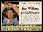1961 Post Cereal #162 BOX  Stan Williams  Front Thumbnail