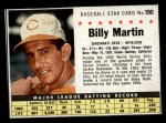 1961 Post Cereal #190 BOX Billy Martin   Front Thumbnail