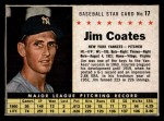 1961 Post Cereal #17 BOX Jim Coates   Front Thumbnail