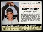 1961 Post Cereal #44 BOX Dave Sisler   Front Thumbnail