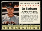 1961 Post Cereal #148 BOX Don Blasingame   Front Thumbnail