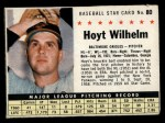 1961 Post Cereal #80 BOX Hoyt Wilhelm   Front Thumbnail