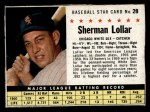 1961 Post Cereal #28 BOX  Sherm Lollar  Front Thumbnail