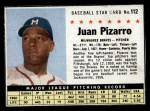 1961 Post Cereal #112 BOX Juan Pizarro   Front Thumbnail