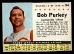 1961 Post Cereal #184 BOX  Bob Purkey Front Thumbnail