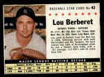 1961 Post Cereal #43 BOX Lou Berberet   Front Thumbnail