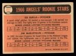 1966 Topps #417  Angels Rookies  -  Jim McGlothlin / Ed Sukla Back Thumbnail