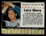 1961 Post Cereal #161 BOX  Larry Sherry  Front Thumbnail
