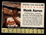 1961 Post Cereal #107 BOX Hank Aaron   Front Thumbnail