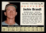 1961 Post Cereal #76 BOX  Jackie Brandt  Front Thumbnail