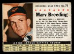 1961 Post Cereal #77 BOX  Marv Breeding  Front Thumbnail