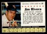 1961 Post Cereal #33 BOX  Jim Rivera  Front Thumbnail