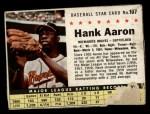 1961 Post Cereal #107 BOX  Hank Aaron  Front Thumbnail