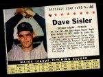 1961 Post Cereal #44 BOX  Dave Sisler  Front Thumbnail