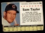 1961 Post Cereal #198 BOX Sam Taylor   Front Thumbnail