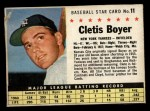 1961 Post Cereal #11 BOX Clete Boyer   Front Thumbnail