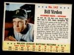 1963 Post Cereal #142  Bill Virdon  Front Thumbnail