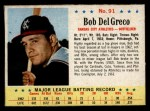 1963 Post Cereal #91   Bobby Del Greco Front Thumbnail