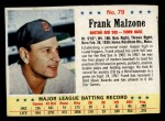 1963 Post Cereal #79  Frank Malzone  Front Thumbnail