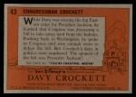 1956 Topps Davy Crockett #43 ORG Congressman Crockett   Back Thumbnail
