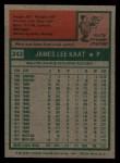 1975 Topps #243  Jim Kaat  Back Thumbnail