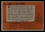 1956 Topps Davy Crockett #78 ORG  Fight to the Finish  Back Thumbnail