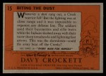 1956 Topps Davy Crockett #15 ORG Biting the Dust   Back Thumbnail