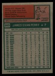 1975 Topps #263  Jim Perry  Back Thumbnail