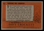 1956 Topps Davy Crockett #42 ORG Serving His Country   Back Thumbnail