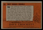 1956 Topps Davy Crockett #28 ORG Davy Senses Trouble   -    Back Thumbnail