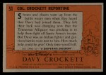 1956 Topps Davy Crockett #51 ORG Col. Crockett Reporting   -     Back Thumbnail