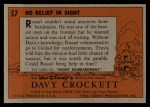 1956 Topps Davy Crockett #57 ORG No Relief in Sight   -     Back Thumbnail