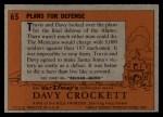 1956 Topps Davy Crockett #65 ORG Plans For Defense   Back Thumbnail