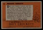 1956 Topps Davy Crockett #13 ORG Moving Target   Back Thumbnail