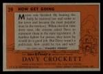 1956 Topps Davy Crockett #39 ORG Now Get Going   Back Thumbnail