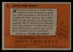 1956 Topps Davy Crockett #41 ORG Vote For Davy!   Back Thumbnail