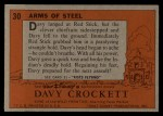 1956 Topps Davy Crockett #30 ORG Arms of Steel   -    Back Thumbnail