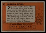 1956 Topps Davy Crockett #77 ORG Blazing Rifles   Back Thumbnail