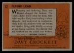 1956 Topps Davy Crockett #12 ORG  Flying Lead  Back Thumbnail