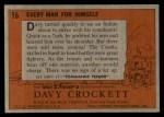 1956 Topps Davy Crockett #16 ORG Every Man for Himself   Back Thumbnail