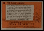 1956 Topps Davy Crockett #54 ORG  The Alamo's Answer  Back Thumbnail